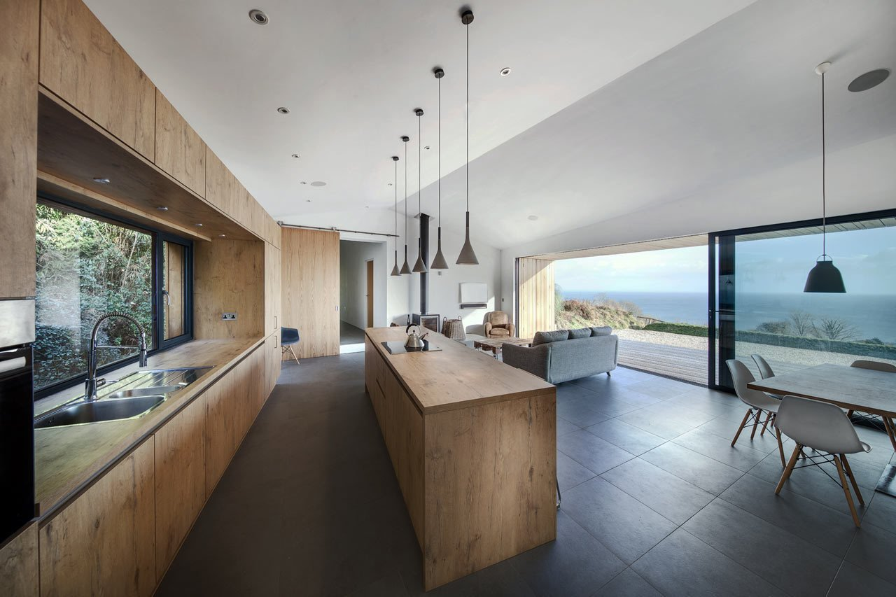 Tagged: Kitchen and Wood Counter.  Photo 11 of 19 in A Modern Holiday Home on a Cliff on the South Coast