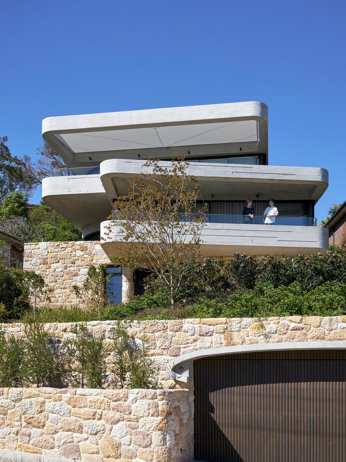 Exterior, House Building Type, and Stone Siding Material  The Books House by Luigi Rosselli Architects