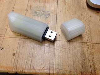 You can clearly see the layers of plastic added to create this simple USB housing.
