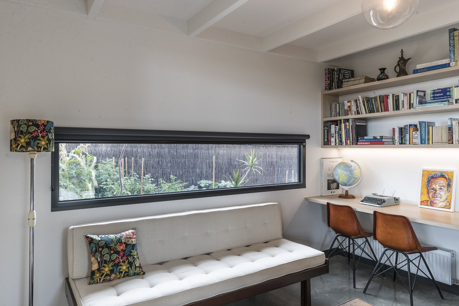Office, Concrete Floor, Desk, Study Room Type, Shelves, and Chair Study  The Golf Course House by Bespoke Architects