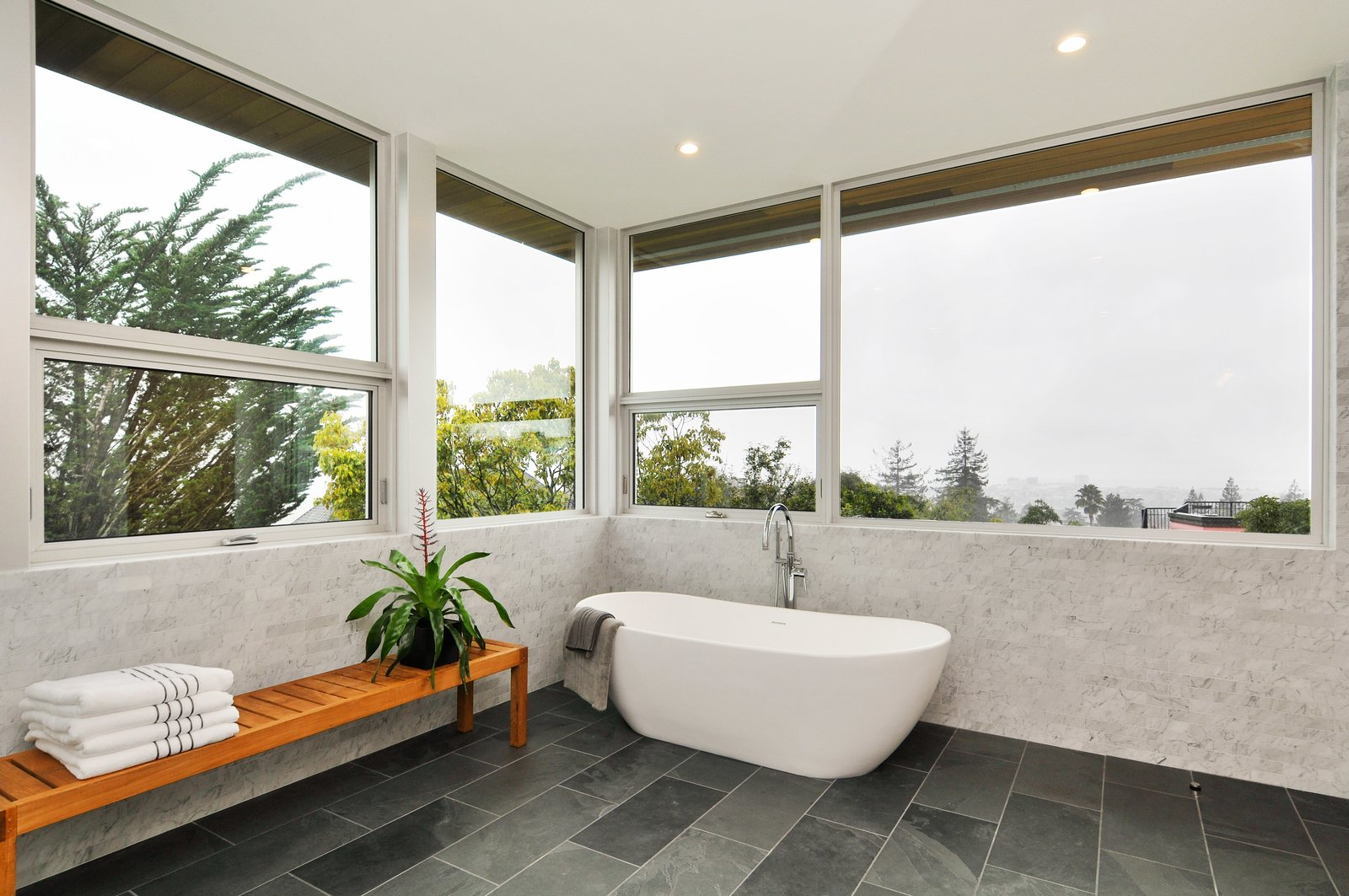 Bath Room, Freestanding Tub, and Ceramic Tile Floor  Acacia Residence by BONE Structure