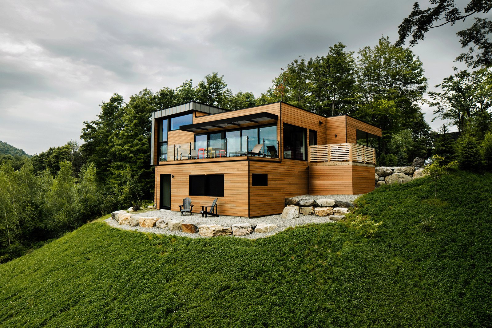 Exterior, House Building Type, Wood Siding Material, and Flat RoofLine  The Desjardins Residence by BONE Structure