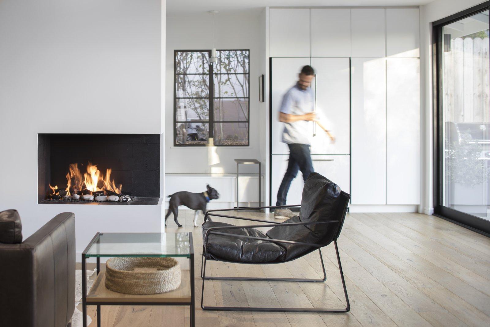 Living Room, Sofa, Corner Fireplace, and Chair  Vista De la Cumbra