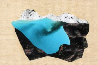 Winkler's torn-paper collages serve as sketches for her abstract landscape paintings.