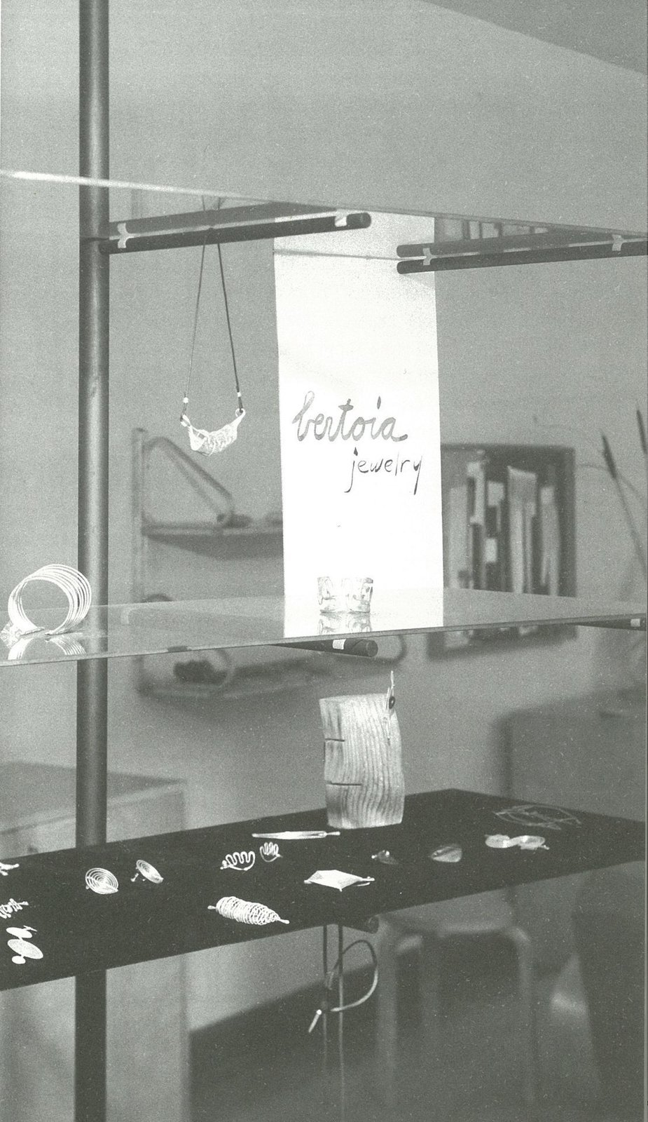 Making do: Harry Weese designed open shelving of floating glass and steel poles to display Bertoia jewelry in the early 1950s  Photo 12 of 21 in How American Modernism Came to the Mountains