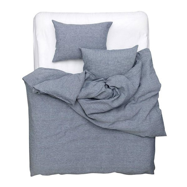Blue Melange Linen Duvet Covers, Pillows and Fitted Sheets