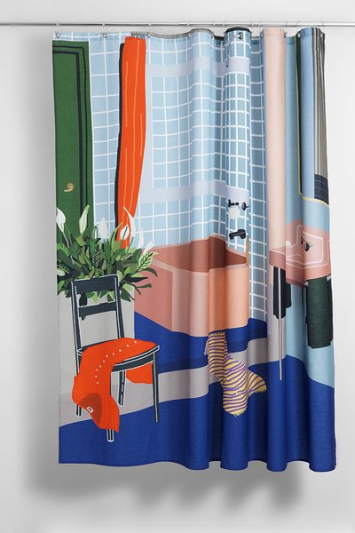 """""""The Bathroom"""" Artist Cotton Shower Curtain ( Waterproof ) by Sophie Probst"""