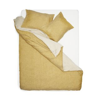 TWO TONE STONEWASHED LINEN BEDDING COL. CURRY