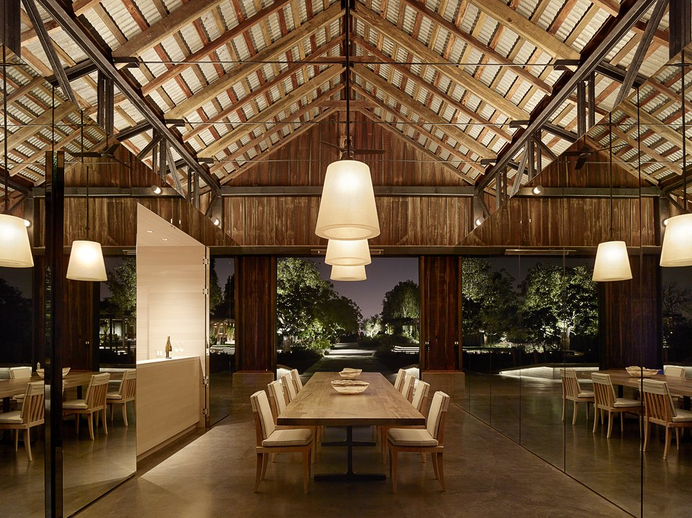 Dining Room, Table, Concrete Floor, Ceiling Lighting, Chair, and Bar  Napa Vineyard Barn by Centric General Contractors
