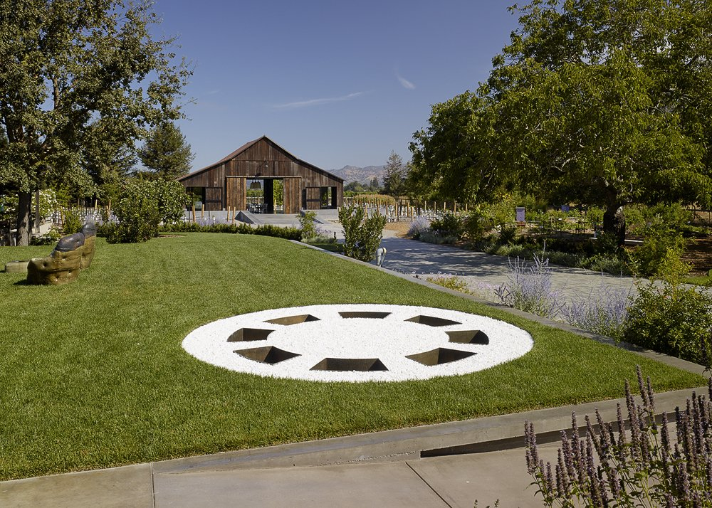 Outdoor, Shrubs, Grass, Trees, Flowers, Walkways, Garden, Field, and Back Yard  Napa Vineyard Barn by Centric General Contractors