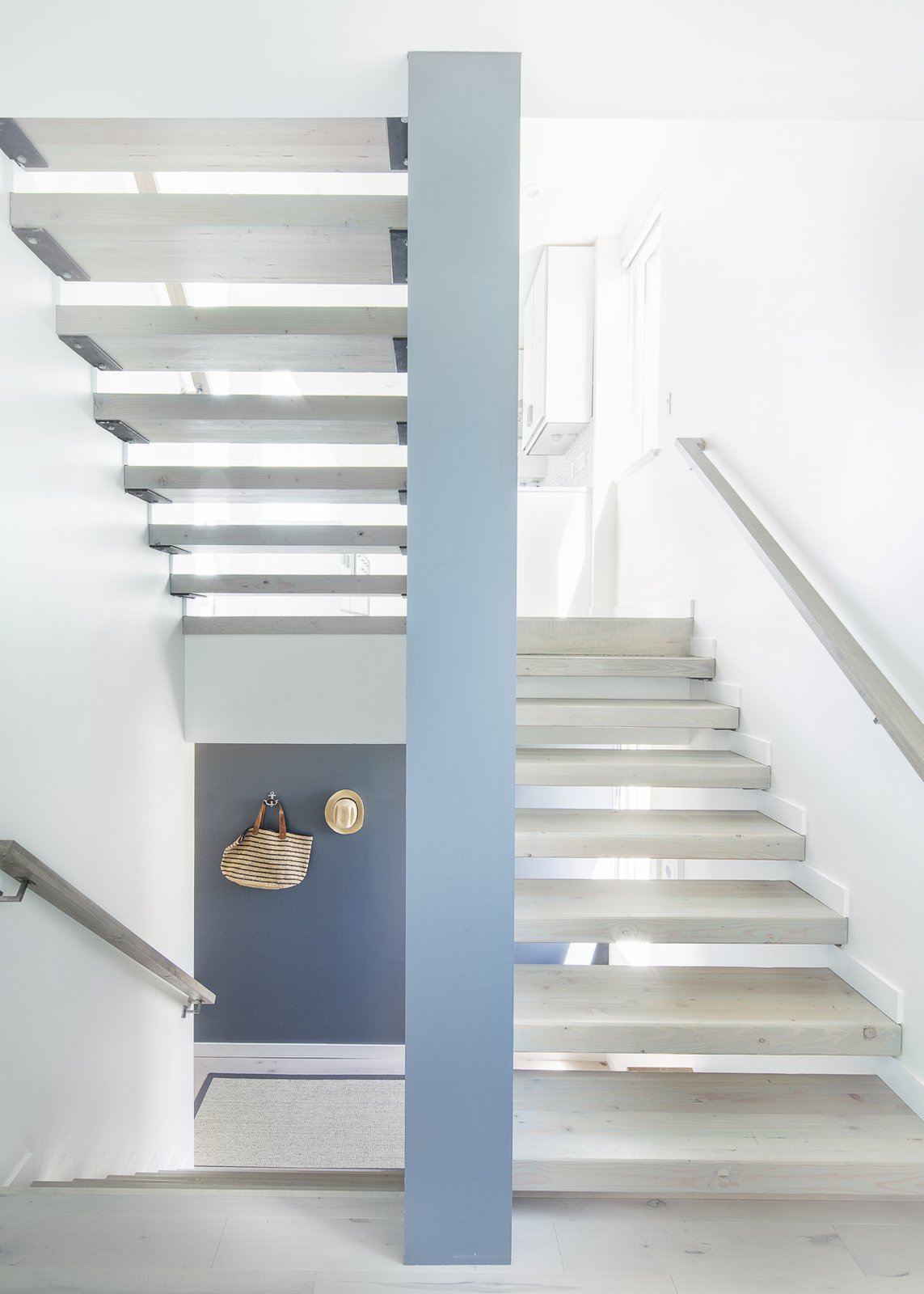 Staircase, Wood Tread, and Wood Railing Stair  Sea Bright House by Jeff Jordan Architects