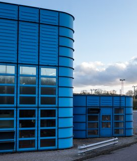 Opened in 1983, the landmarked BlueBuilding located in Chippenham, UK, served Herman Miller well for decades.