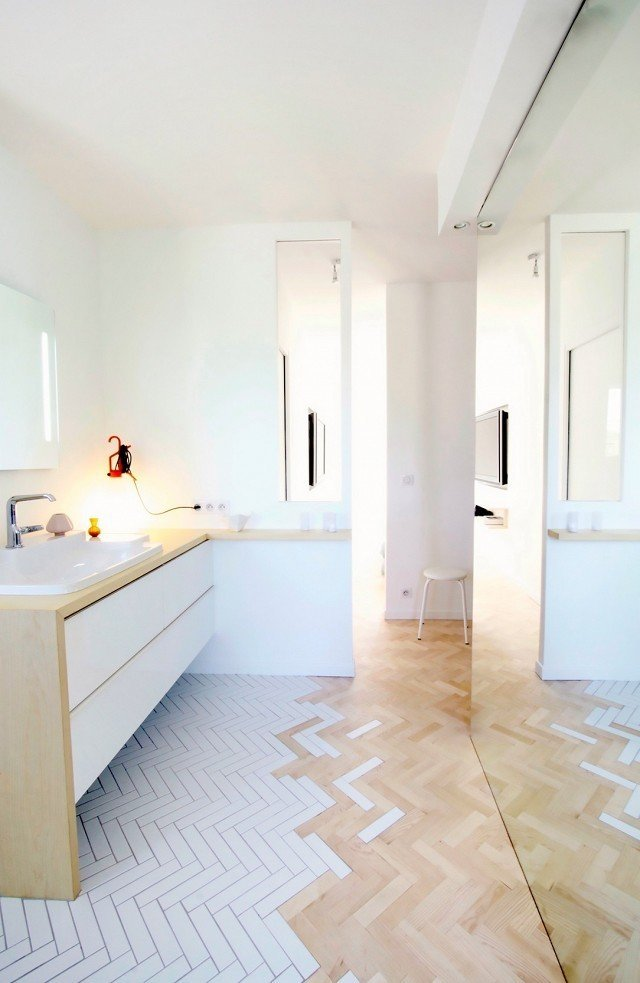 "Bath Room, Light Hardwood Floor, Ceramic Tile Floor, Wood Counter, and Drop In Sink This trend is made for small homes. ""I think this type of floor treatment is most appropriate in areas of transition, [like] entry areas, open baths, or even kitchens,"" says Zunino. Why? ""It's a creative way to delineate space without a hard line.""   Photo courtesy of Studio M  #design #interior #tiletransitioning #floor #bathroom  #mydomaine  Photo 4 of 9 in How to Use Modern Home Decor in Unexpected Ways from This Gorgeous Home Décor Trend Will Dominate Pinterest"
