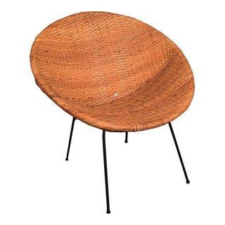 "Chairish ""Mid Century Wicker Hoop Chair"", $250"