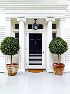 When selecting a front door color, it's always important to be thoughtful of the surrounding colors and finishes, whether they are brick, wood, or even greenery. And if you're looking to integrate a black door with a white frame, there's no reason why can't split the difference with a few classic black-and-white stripes.