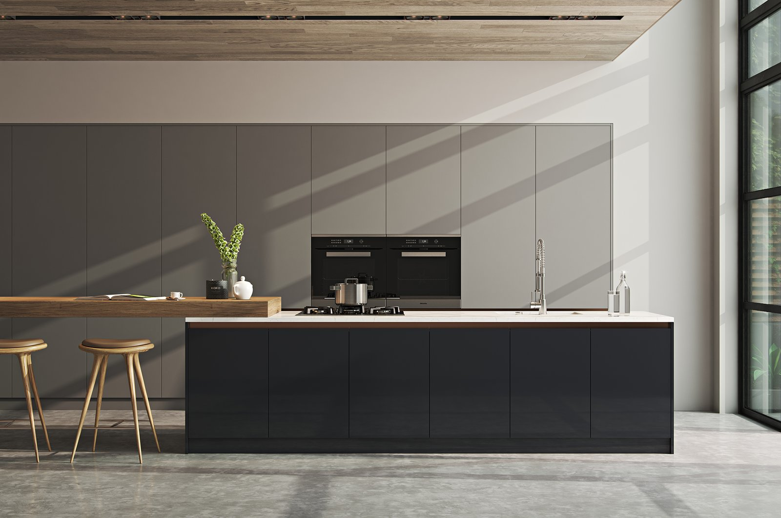 Kitchen, Marble Counter, Wood Counter, Concrete Floor, Recessed Lighting, Ceiling Lighting, Wall Oven, Undermount Sink, Laminate Cabinet, and Cooktops  Kitchen//Extension by Mitaka DImov