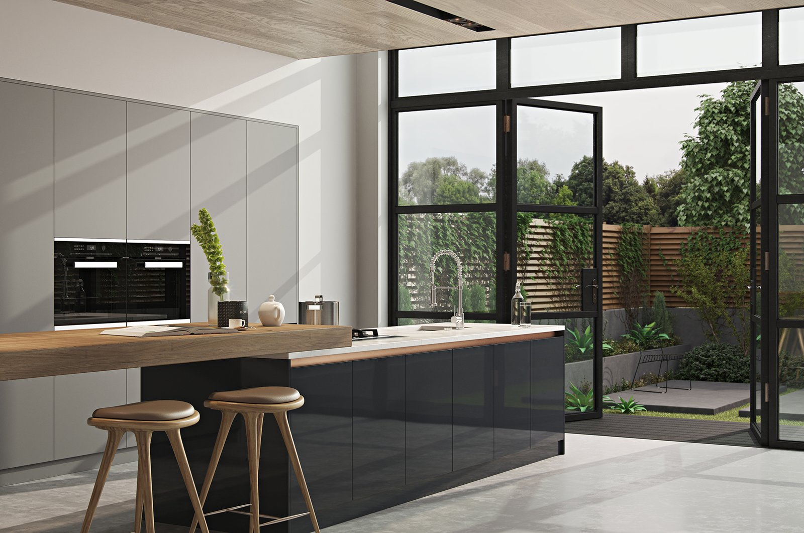 Kitchen, Marble Counter, Wood Cabinet, Laminate Cabinet, Recessed Lighting, Wall Oven, Concrete Floor, Undermount Sink, and Cooktops  Kitchen//Extension by Mitaka DImov from Kitchen