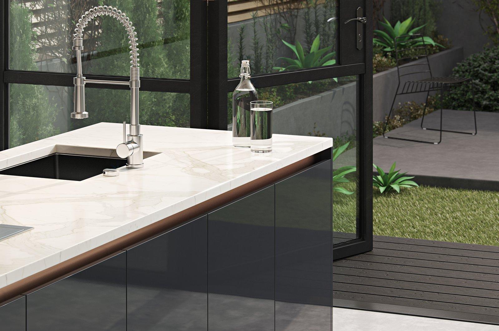 Kitchen, Marble Counter, Undermount Sink, Laminate Cabinet, and Concrete Floor  Kitchen//Extension by Mitaka DImov