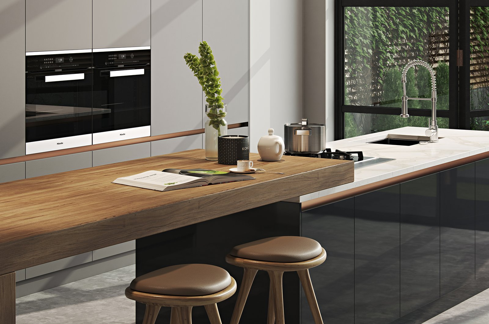 Kitchen, Laminate Cabinet, Marble Counter, Concrete Floor, Wall Oven, Range, and Undermount Sink  Kitchen//Extension by Mitaka DImov