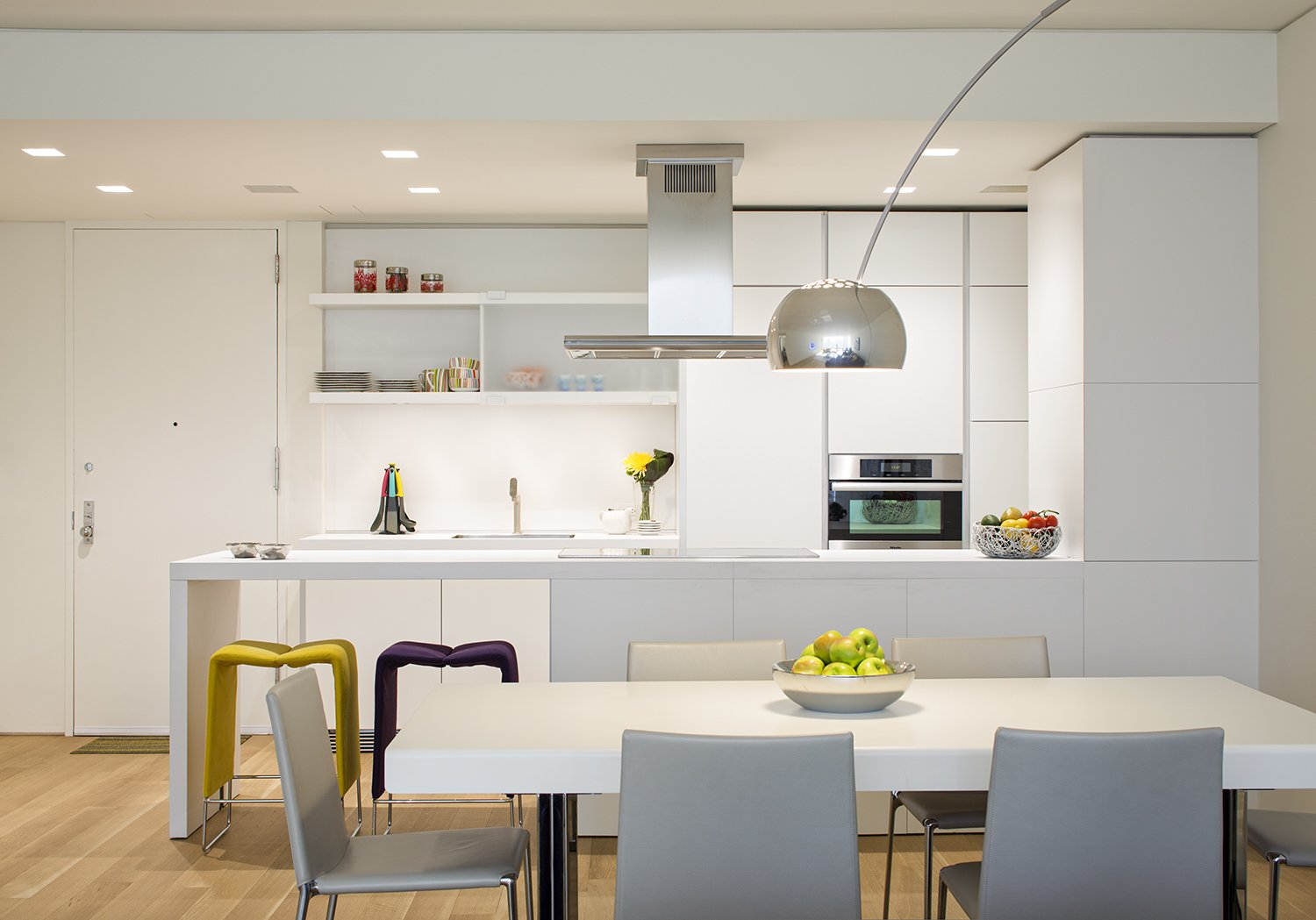 Kitchen, Range Hood, and Wall Oven  A Pop of Color by James Wagman Architect