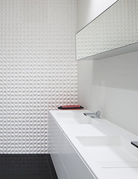 Bath Room and Porcelain Tile Wall  A Pop of Color by James Wagman Architect