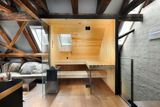 A rustic interior paired perfectly with this Küng Sauna's ultra modern look.  Photo 6 of 10 in 10 Sterling Saunas in Modern Homes