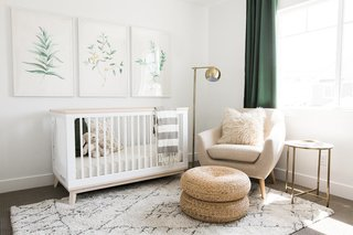 The Ironhorse Residence's nursery by Akin Design Studio features clean, earthy tones and multiple textures—all of which help tie in the hushed palette from the rest of the home.