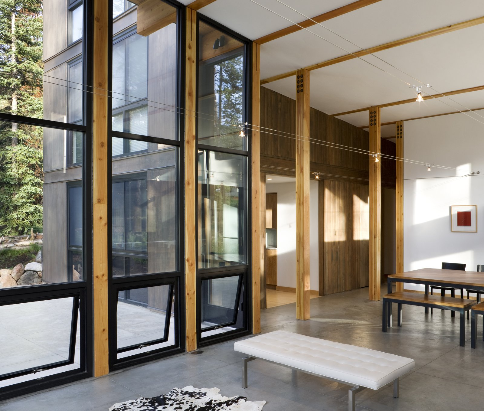 Living Room, Bench, and Concrete Floor  Weigel Residence by Substance Architecture