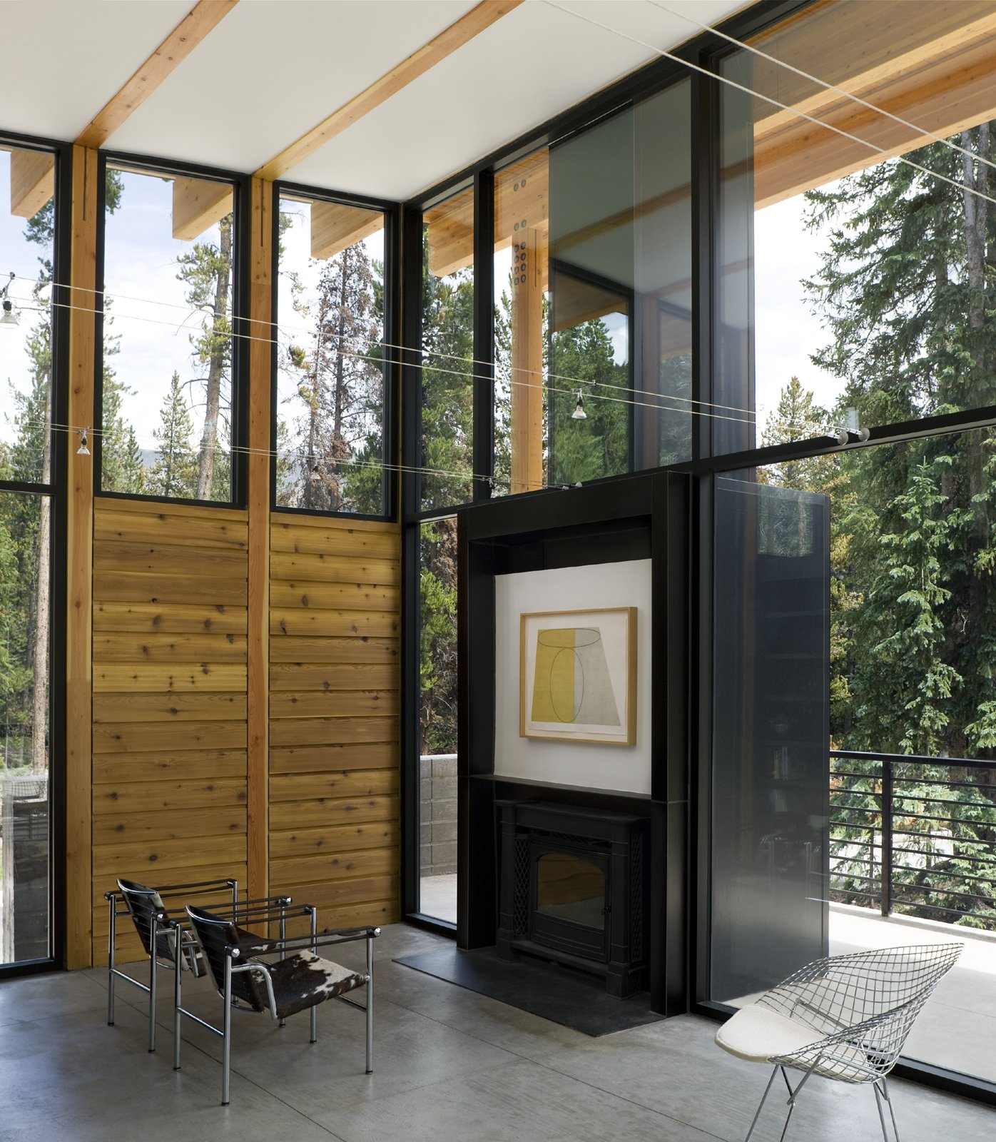 Living Room, Standard Layout Fireplace, Concrete Floor, and Chair  Weigel Residence by Substance Architecture