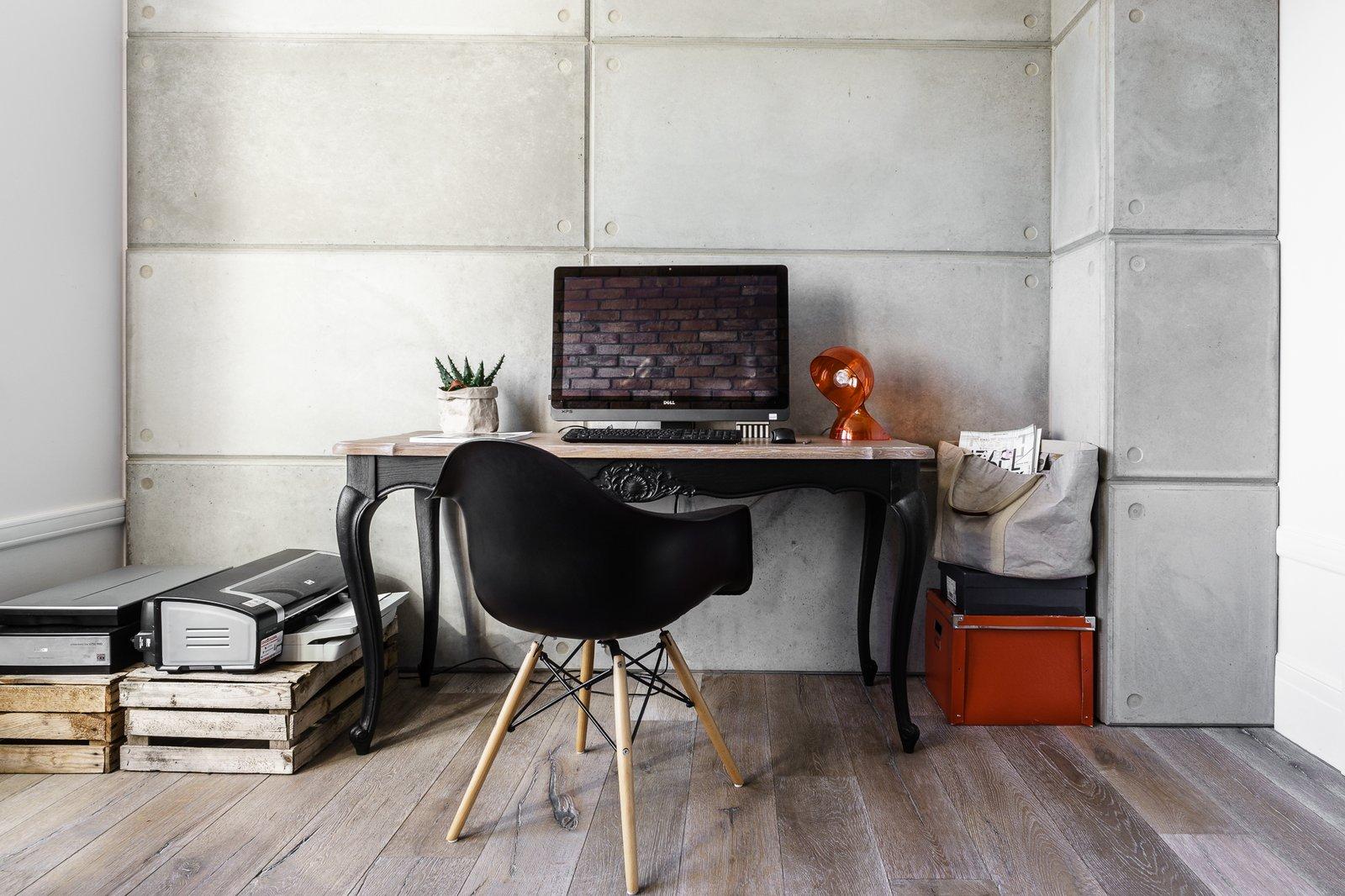 Office, Desk, Chair, Study Room Type, and Medium Hardwood Floor  Loft in Poland