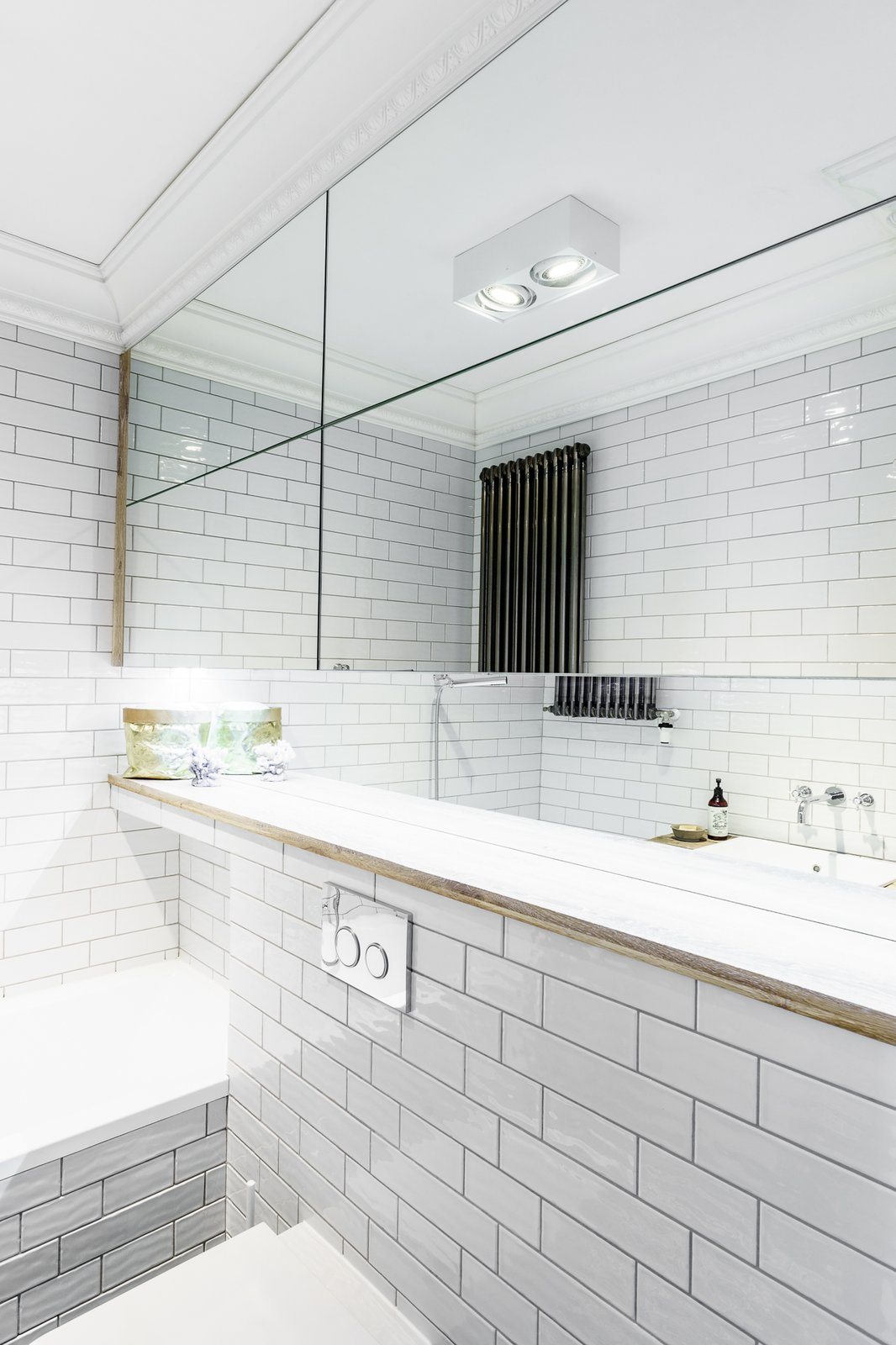 Bath Room, Engineered Quartz Counter, Ceiling Lighting, and Ceramic Tile Wall  Loft in Poland