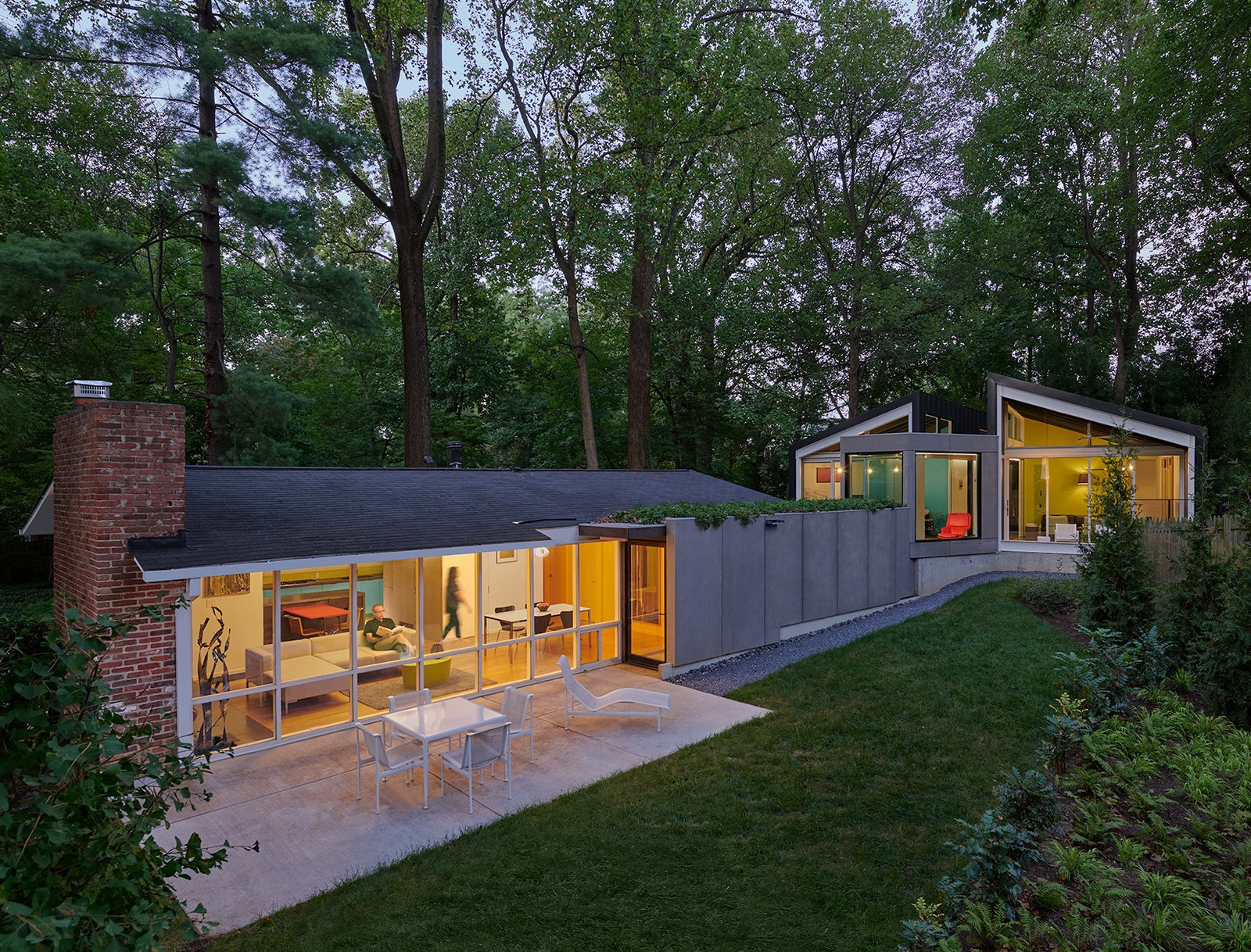 Exterior, Brick, Mid-Century, Concrete, Glass, House, Gable, Green, Shingles, and Metal  Exterior House Mid-Century Shingles Photos from Dual Modern