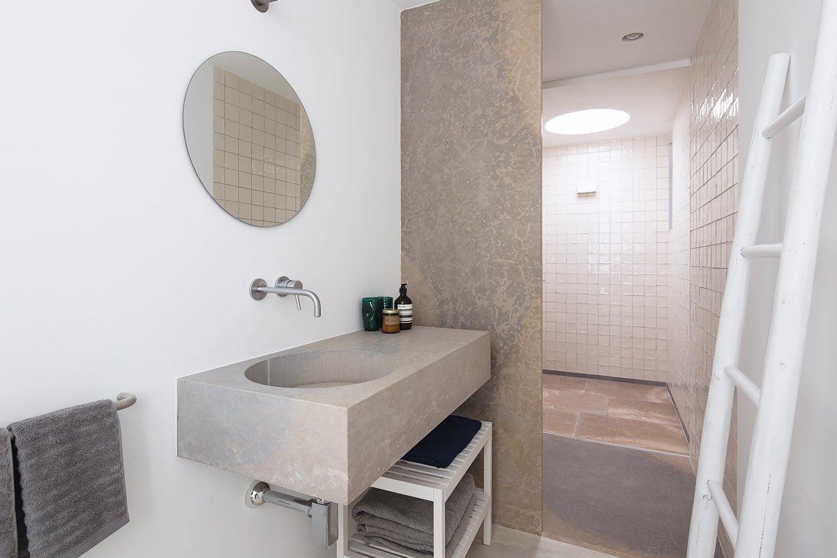 Bath, Concrete, Stone, Enclosed, Ceiling, Concrete, and Drop In  Bath Stone Enclosed Concrete Photos from Casa Luum