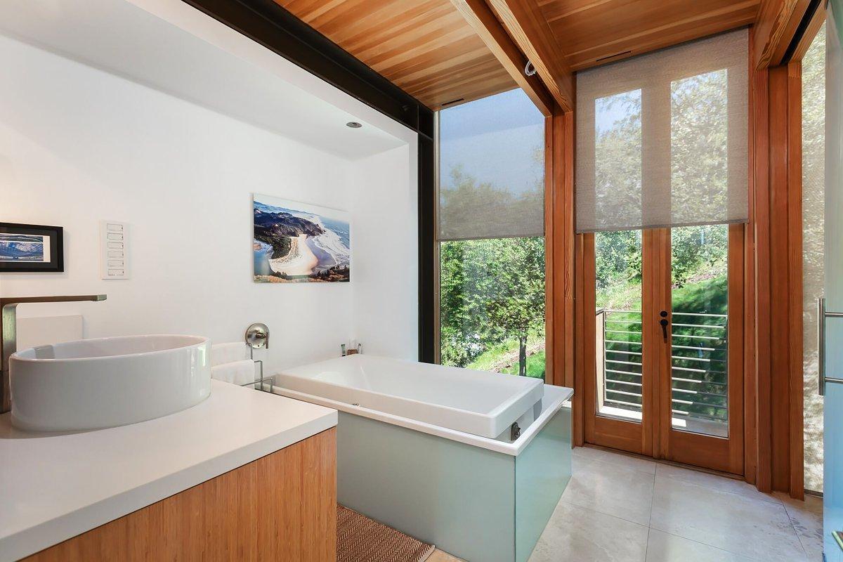 Bath Room, Freestanding Tub, and Ceiling Lighting  Laurel Canyon Boxhouse