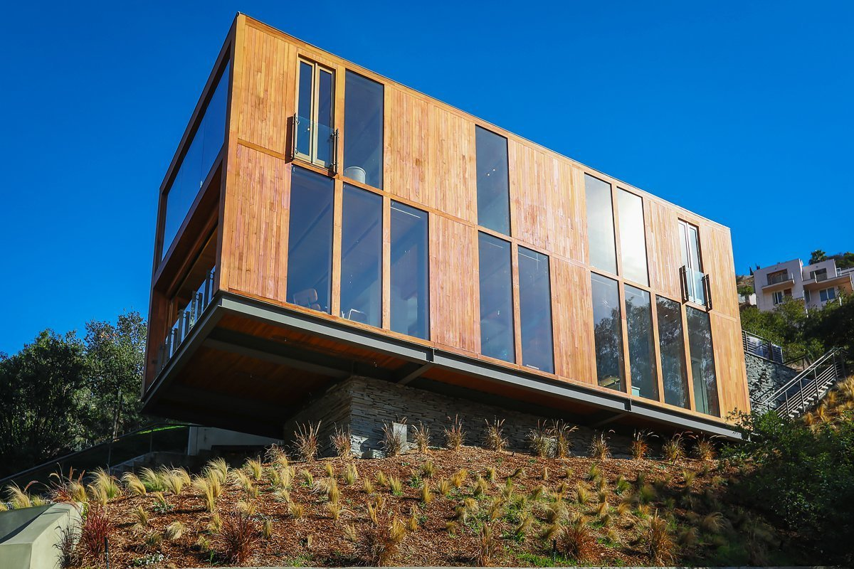 Exterior, House Building Type, Flat RoofLine, Wood Siding Material, and Glass Siding Material  Laurel Canyon Boxhouse