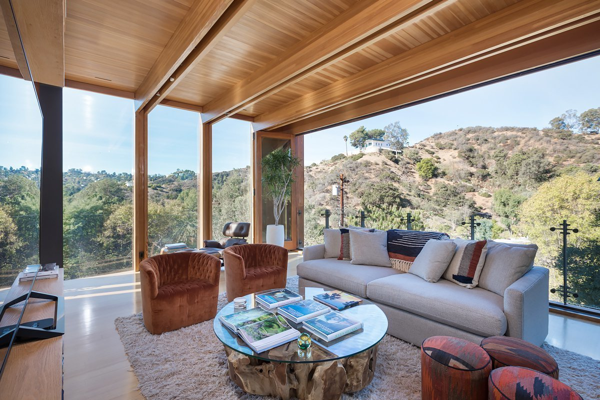 Living Room, Sofa, Chair, Coffee Tables, and Medium Hardwood Floor  Laurel Canyon Boxhouse