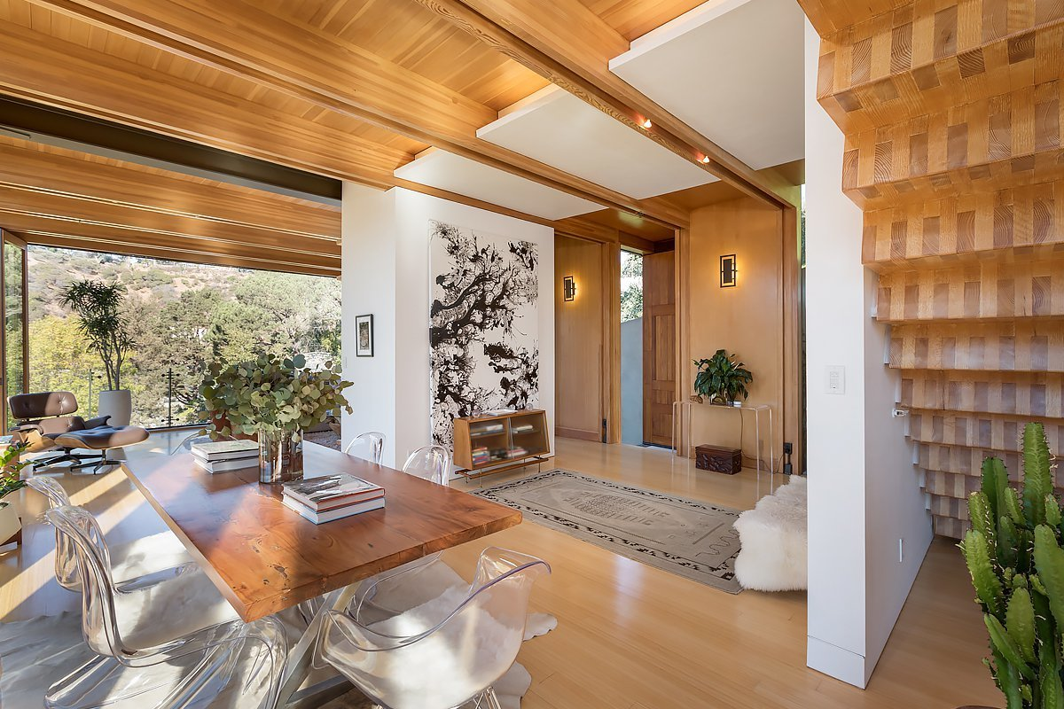 Dining Room, Ceiling Lighting, Table, Chair, and Medium Hardwood Floor  Laurel Canyon Boxhouse