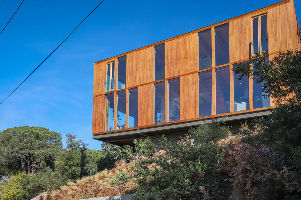 Exterior, Wood Siding Material, Flat RoofLine, House Building Type, and Glass Siding Material  Laurel Canyon Boxhouse