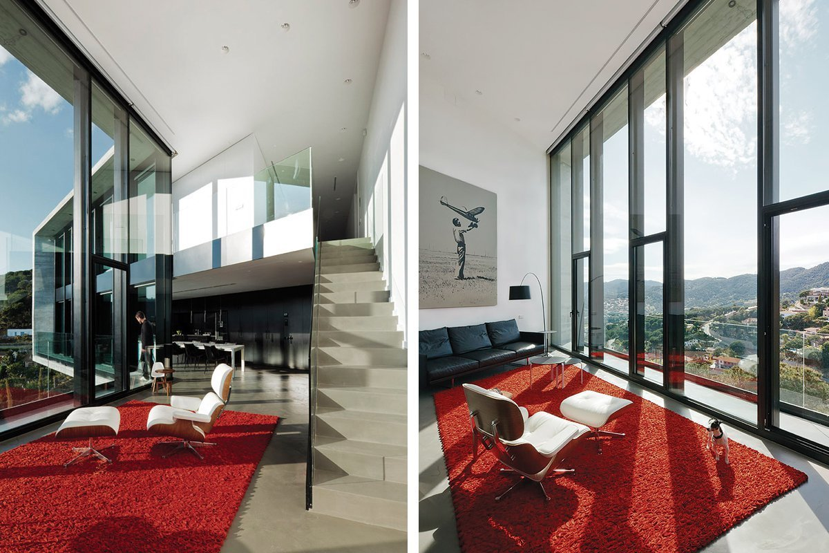 Living Room, Chair, Concrete Floor, and Ceiling Lighting  Casa X