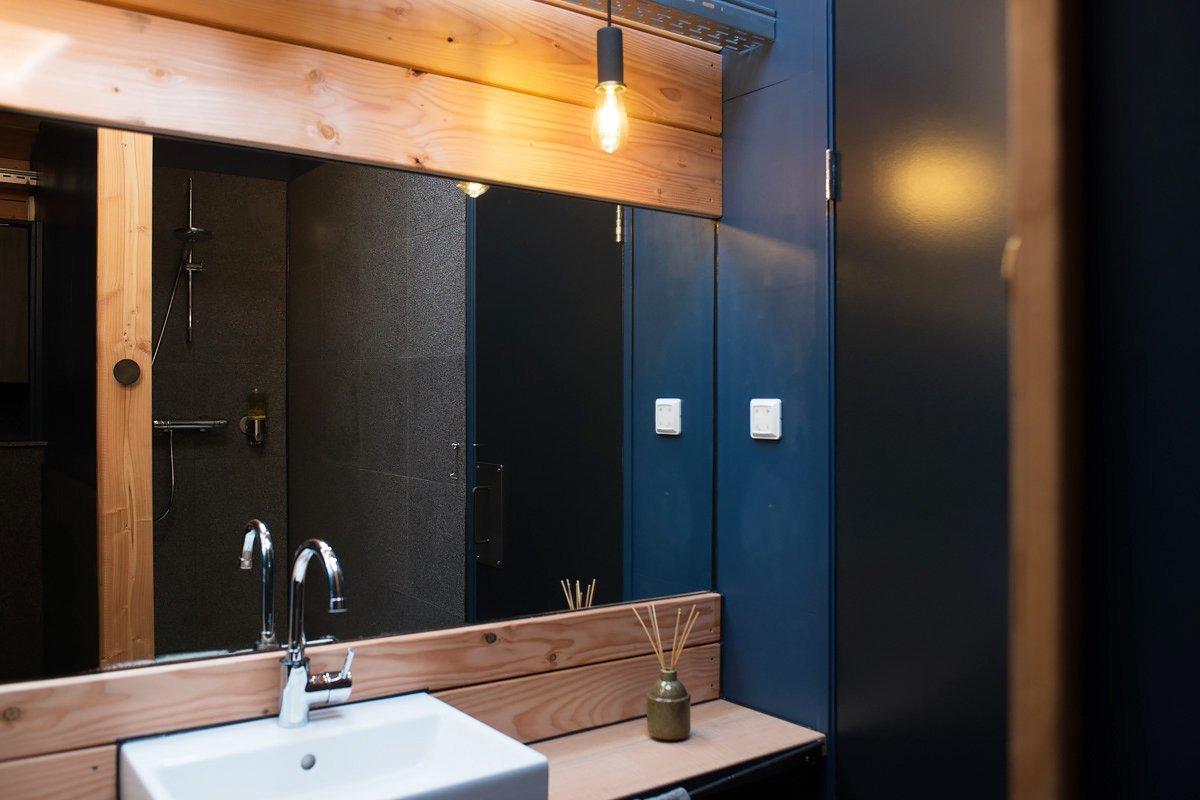 Bath, Vessel, Enclosed, Wood, Stone Tile, and Pendant  Best Bath Vessel Enclosed Stone Tile Photos from Lake Island Cabin