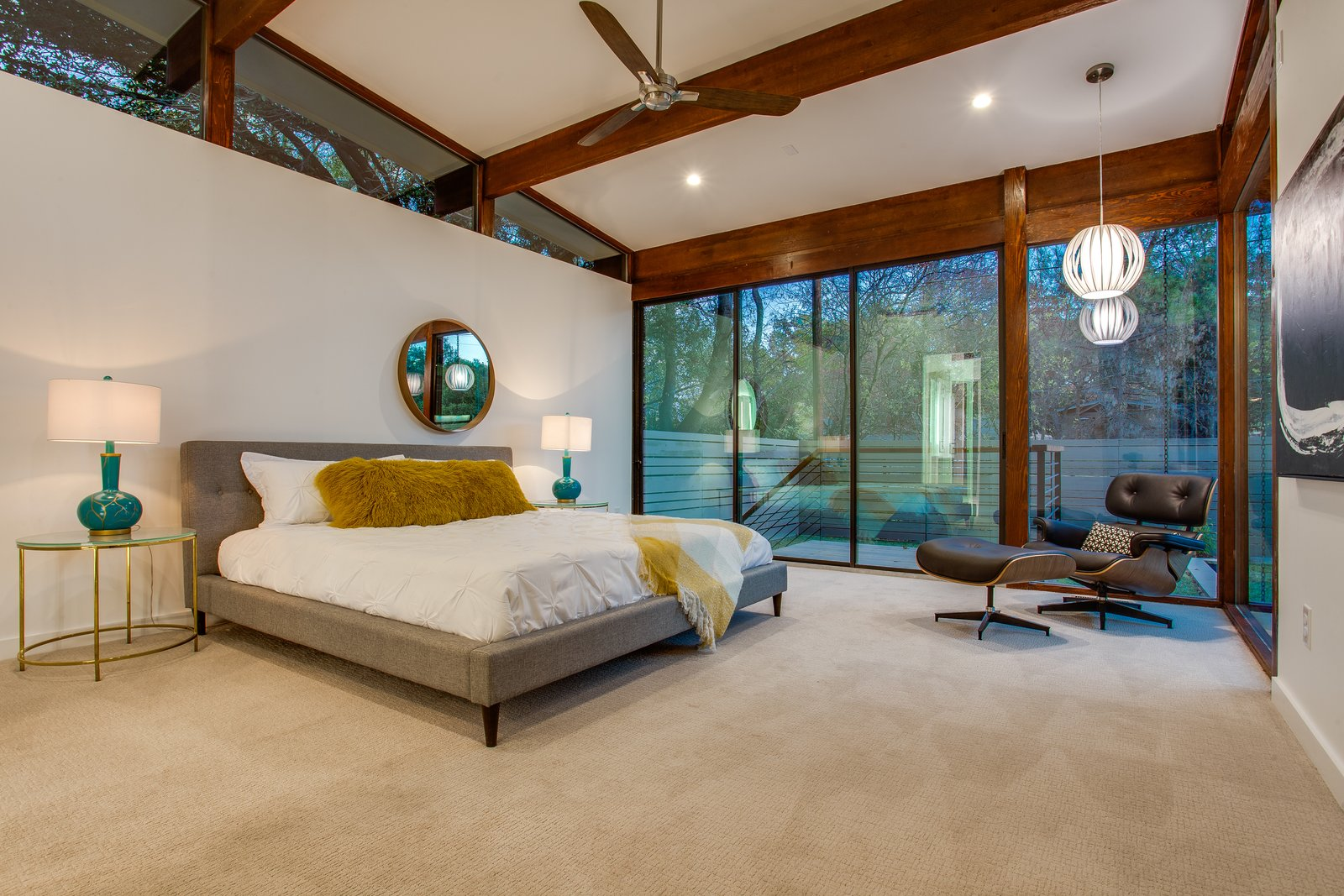 Bedroom, Bed, Chair, Pendant Lighting, Ceiling Lighting, and Recessed Lighting  1963 Post and Beam Mid Century Modern by Tavis Westbrook