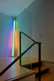 "There are few walls in the home that abut, making it difficult to place this neon sculpture—""Untitled (to the real Dan Hill)""—by Dan Flavin."