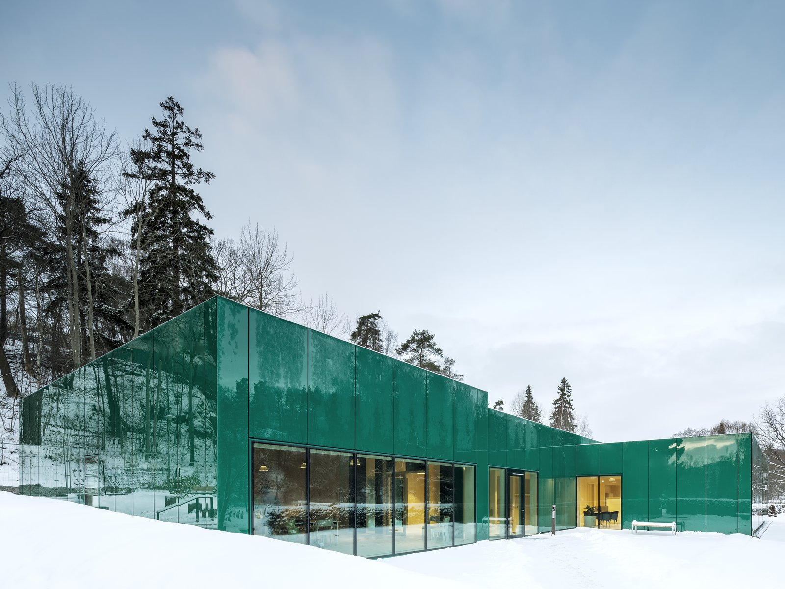 Exterior, Metal Siding Material, Metal Roof Material, Flat RoofLine, and Glass Siding Material  Photo 1 of 7 in Architect Gert Wingårdh Builds a Dazzling Emerald Office in a Swedish Cemetery