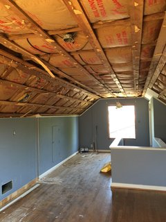 The remodel started after Matt Loosemore considering adding a bathroom to this attic, which served as one bedroom.