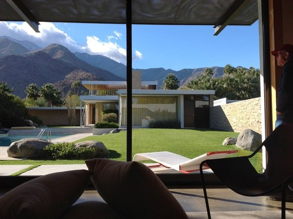 """Few changes to the Richard Neutra's original design were made during the restoration of the Kaufmann house, including the addition of this pool house to better accommodate modern-day life. It was designed to complement—never to compete with—the restored home, which has since been designated by the Palm Springs City Council as a Class 1 Historic Site, the most prestigious historic designation. Says owner Brent Harris, """"It pioneered the field for historic modern architecture."""""""