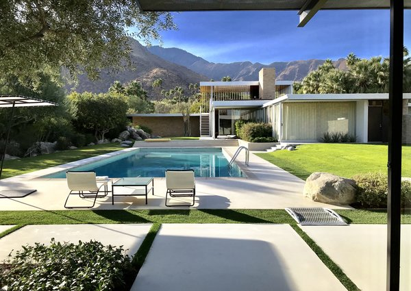 """The vantage point of the famed """"poolside gossip"""" photo that made Richard Neutra's Kaufmann House so well-known."""