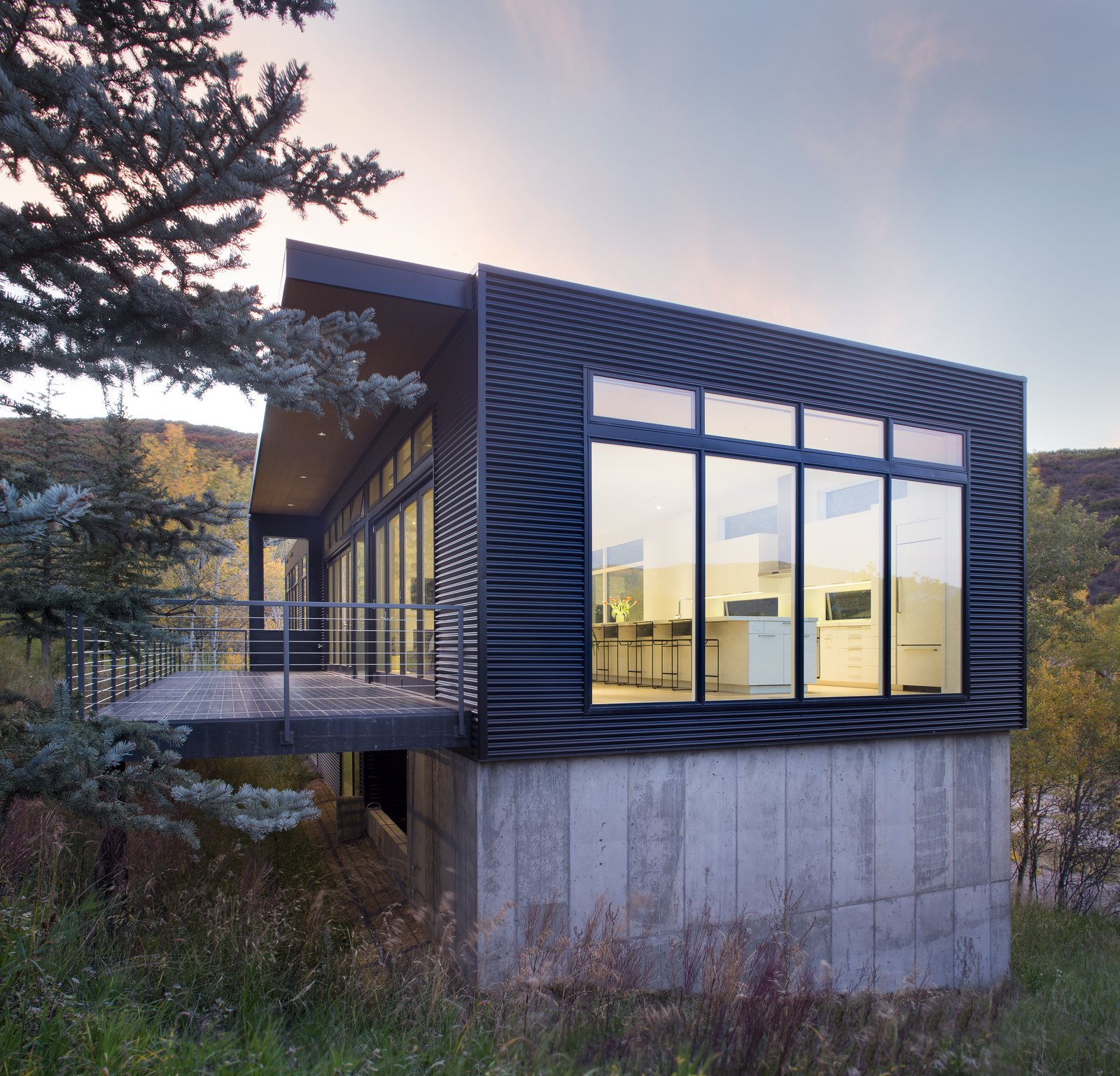 Exterior, House, Flat, Cabin, Metal, and Concrete  Exterior Metal Cabin Concrete House Photos from Black Magic
