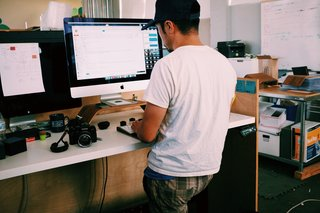 Grovemade founder Ken Tomita, hard at work from his standing desk.