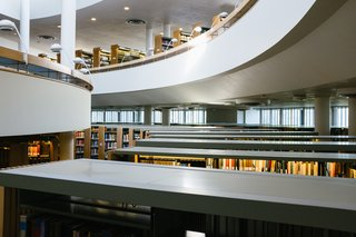 As you move down into the lower floors of the library, ample light still reaches the floor.