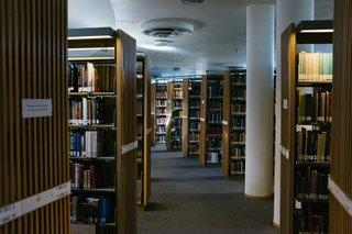 Aisles weave throw a sea of latticed bookshelves and columns.